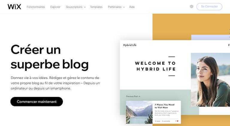 wix plateforme blogging