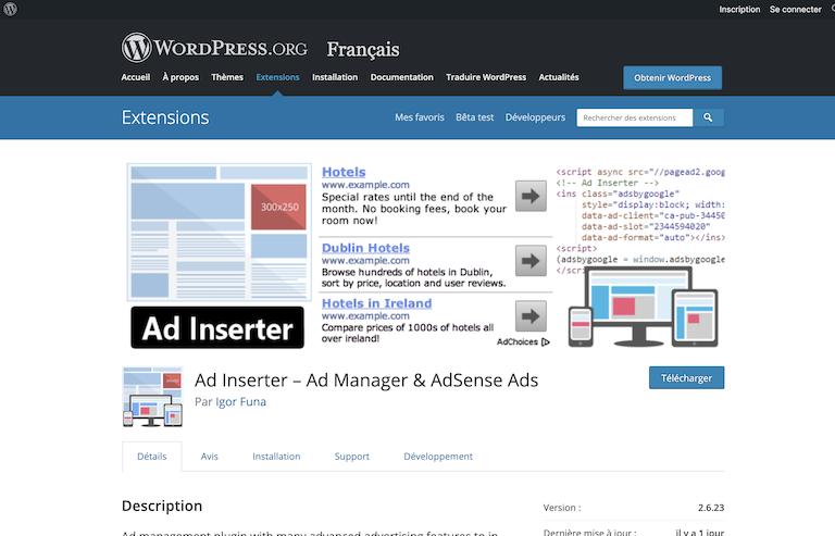 extension wordpress adsense