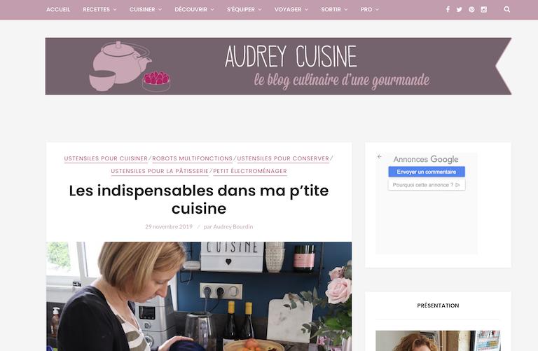 audrey cuisine liste